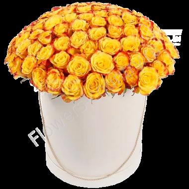Букет из 101 розы в шляпной коробке