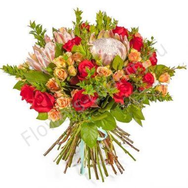 Букет из протеи и розы