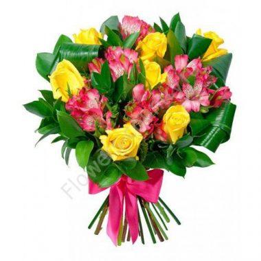Букет из альстромерий и розы