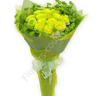 Букет из 15 зеленых роз
