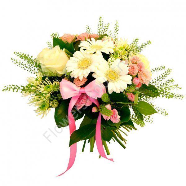 Букет для новорожденного из гербер и роз