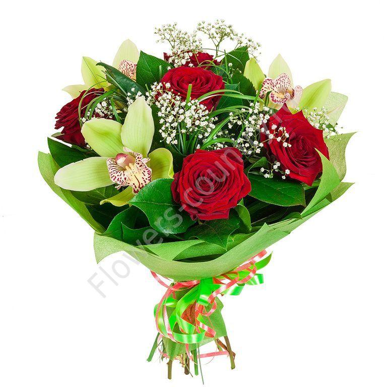 Букет из 5 роз и орхидеи