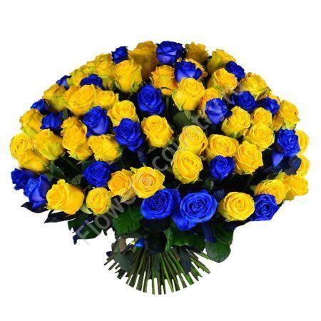 Букет из синих и желтых роз