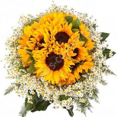 Букет из красивых цветов (с подсолнухами)