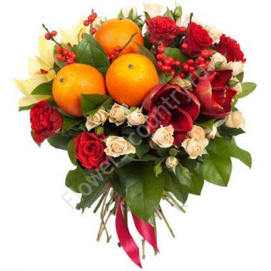 Букет с фруктами на новый год «Зимнее солнце»