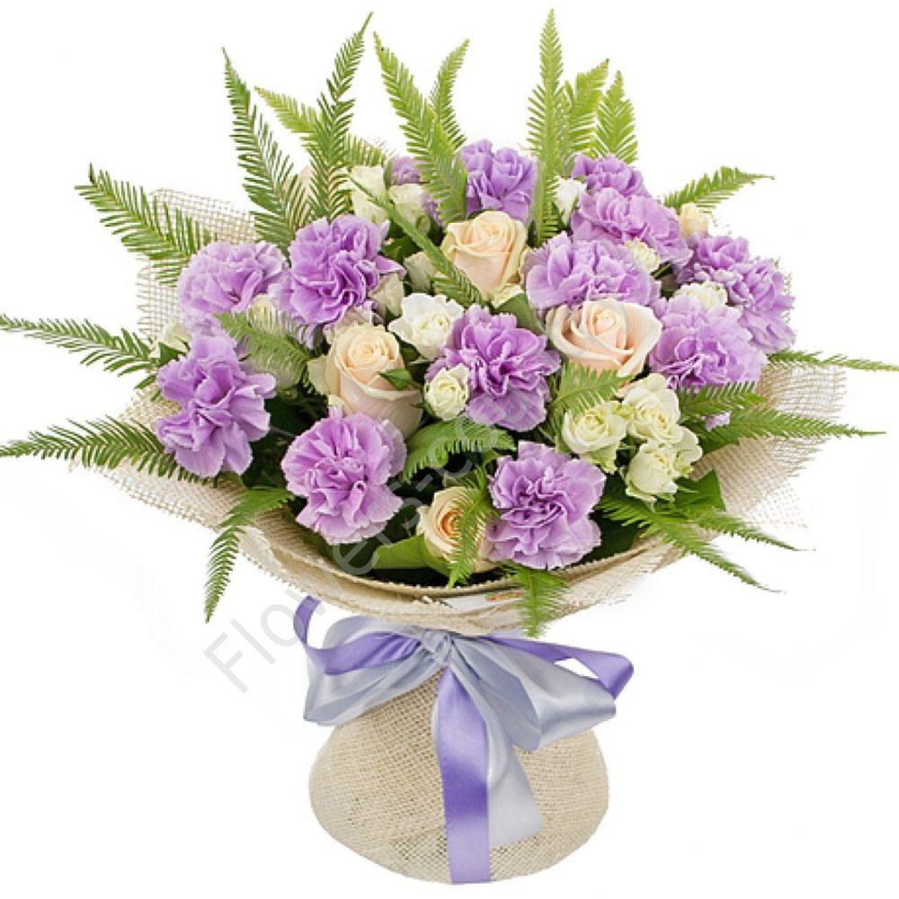 Букет из гвоздики и розы