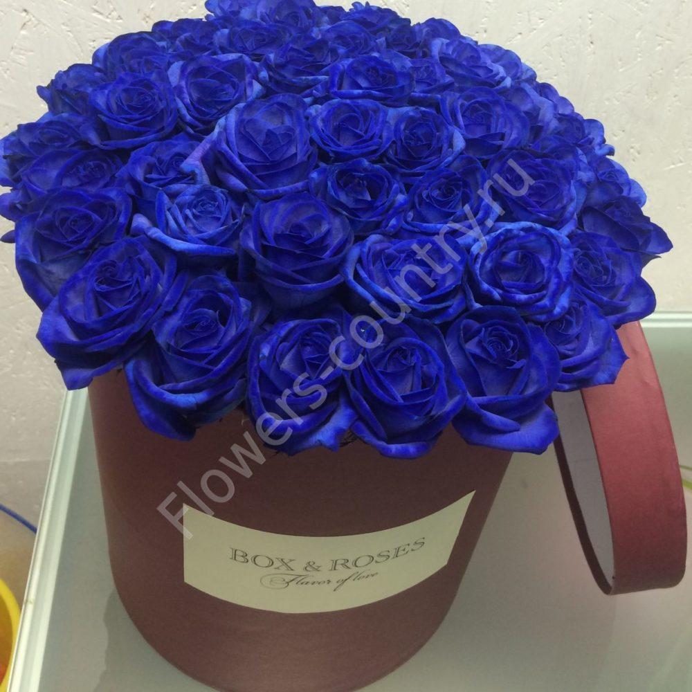 Букет синих роз в шляпной коробке