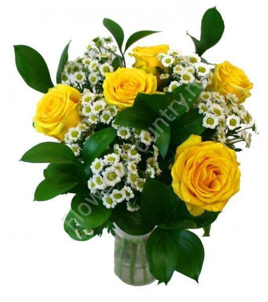 Букет из 5 роз и кустовой хризантемы
