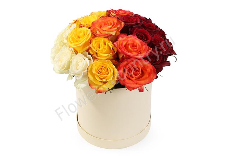 Букет из 31 розы разноцветной в коробке