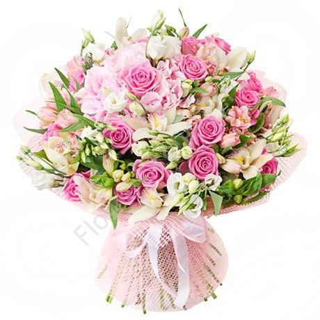 Букет из гортензий, роз и орхидей