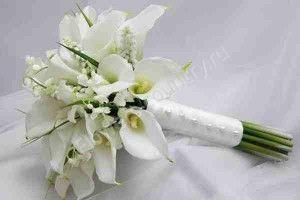 Букет невесты из калл и матиолы