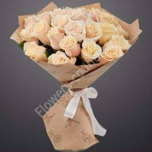 Букет из роз «Крем-брюле»