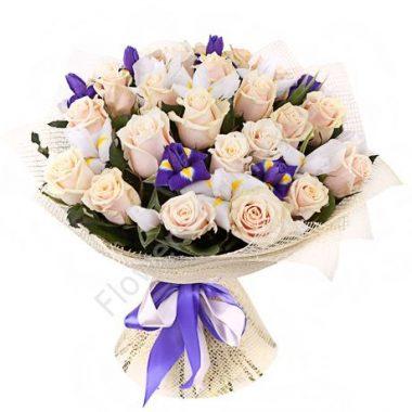 Букет из розы и ириса