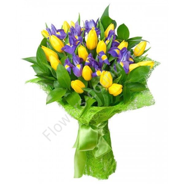 Букет из ириса синего и желтого тюльпана