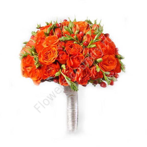 Букет из роз и фрезий оранжевый
