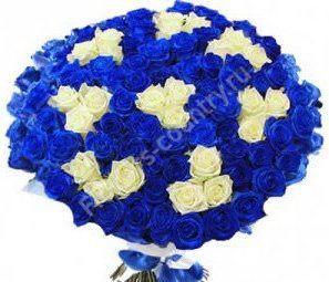 Букет из голубых и белых роз