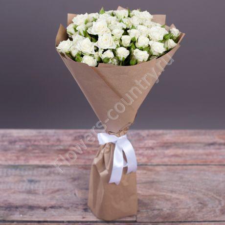 Букет из 15 роз кустовых белых