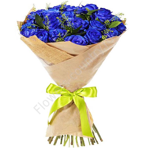 Букет из 25 голубых роз