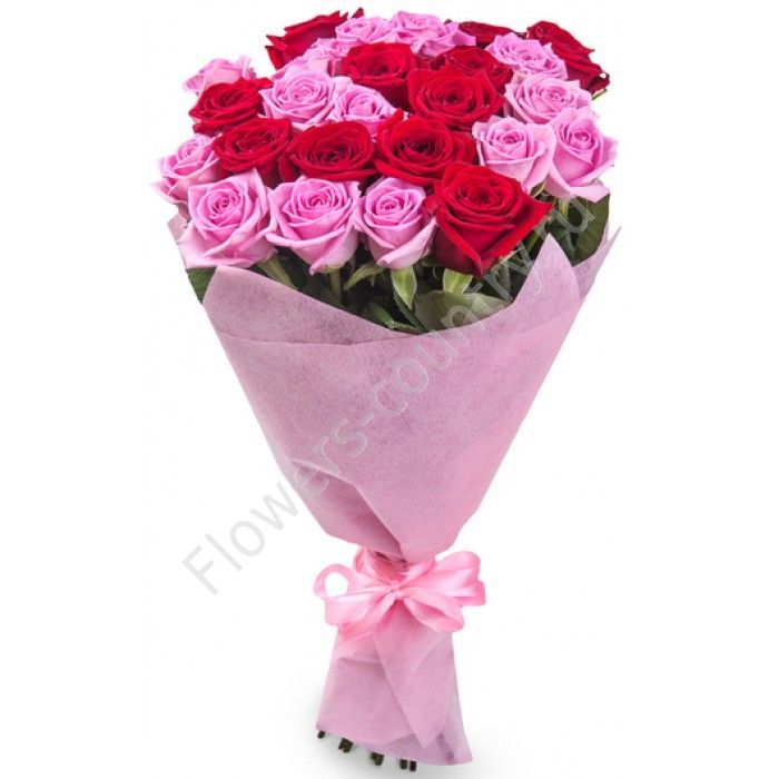 Букет из 25 розовых и красных роз