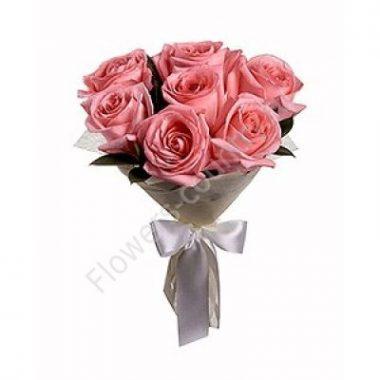 Букет из 7 роз розовых