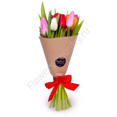 Букет из 29 красных, белых и фиолетовых тюльпанов