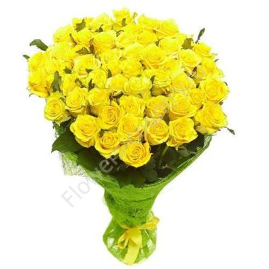 Большой букет из желтых роз