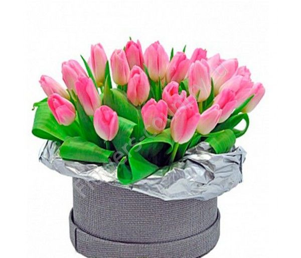 Букет из 25 тюльпанов розовых в коробке