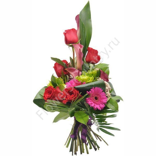 Букет для новорожденного из хризантем и роз