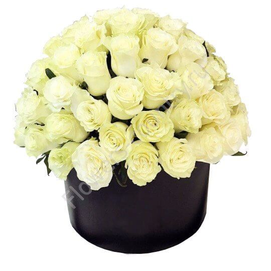 Букет из 51 розы в шляпной коробке