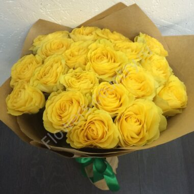 Букет из желтых роз 19 шт