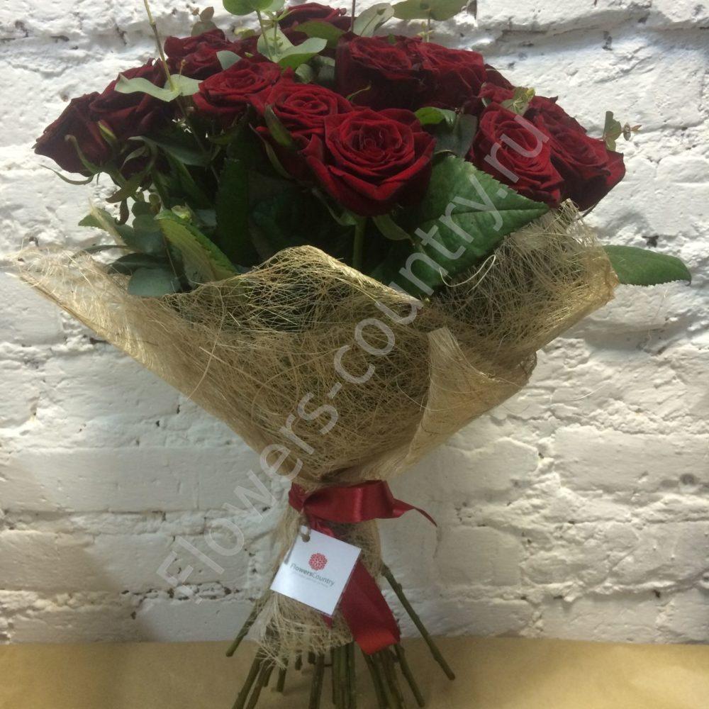 Букет из 25 бордовых роз