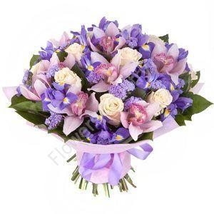 Букет из ириса синего и орхидей