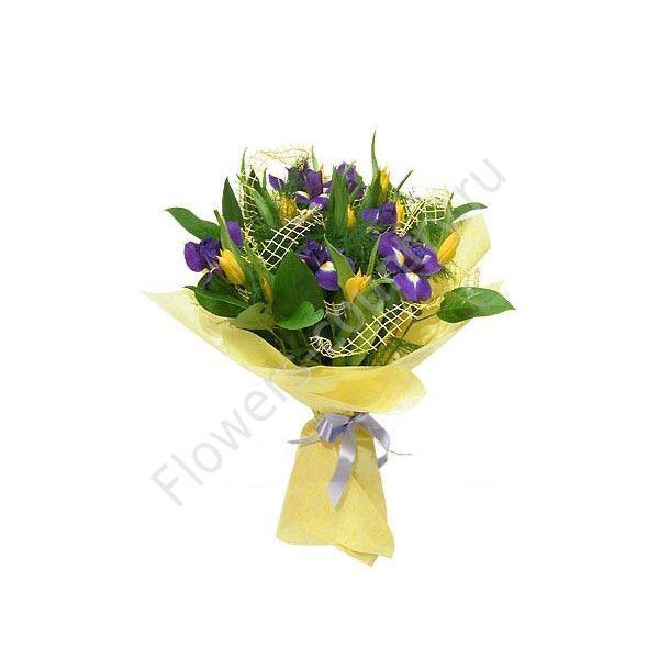 Букет из синего ириса и желтого тюльпана
