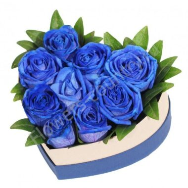 Букет из 9 синих роз в коробке