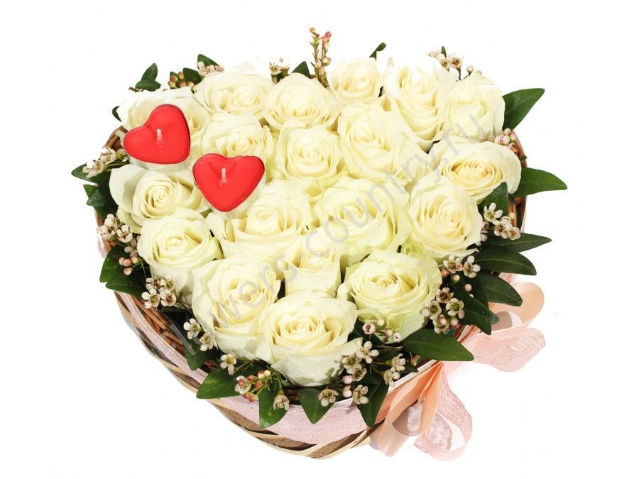 Букет из 21 белой розы в коробке