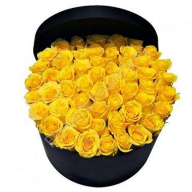 Букет из 51 желтой розы в коробке