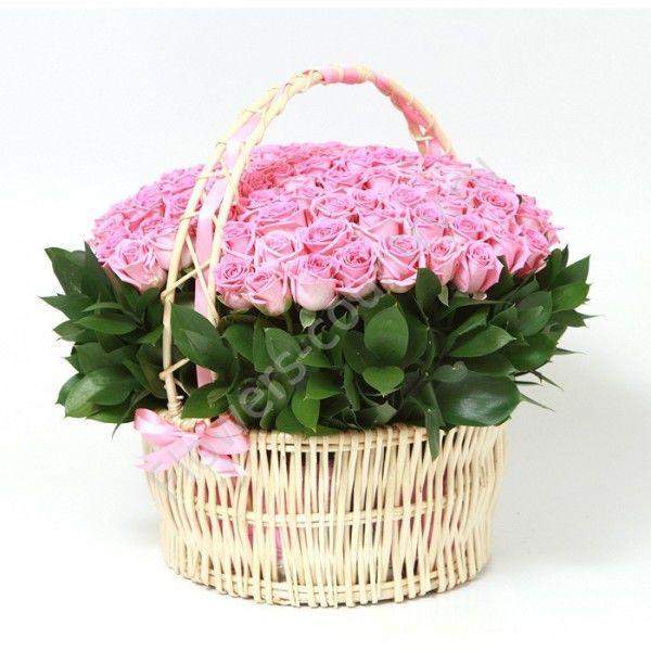 Букет из 101 розовой розы в корзине