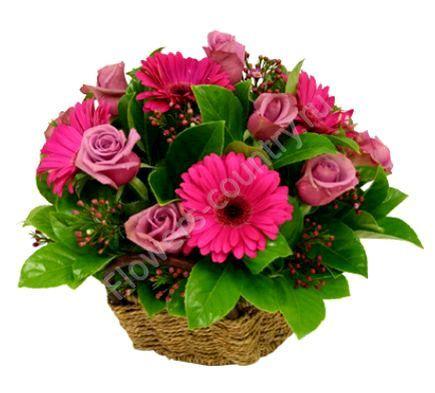 Букет из гербер и сиреневых роз