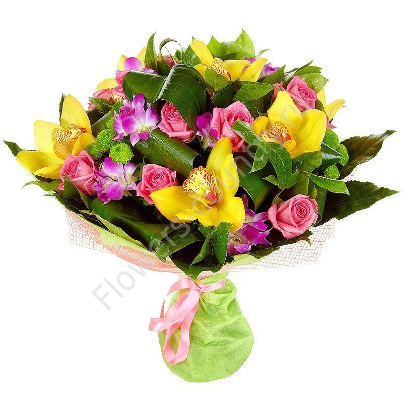 Букет из орхидей, хризантем и альстромерий