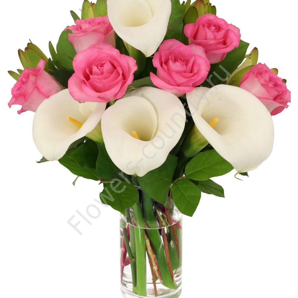 Букет из калл и розы