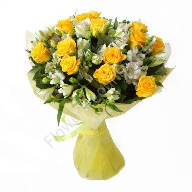 Букет из 15 роз и альстромерий