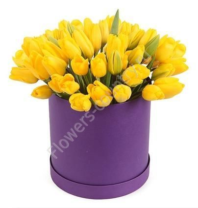 Букет из тюльпана желтого в коробке