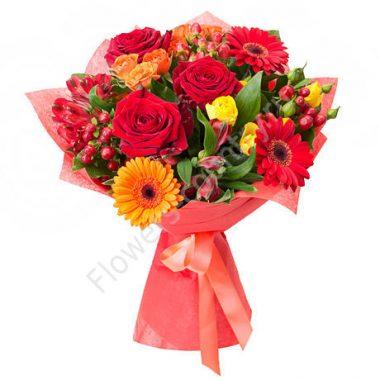 Букет из красных роз и гербер