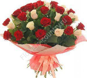 Букет из красных и белых роз — 39 шт.