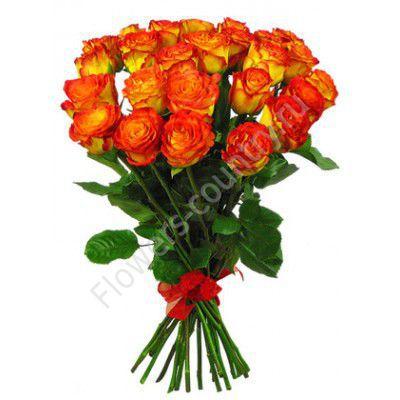 Букет из 25 оранжевых роз циркус