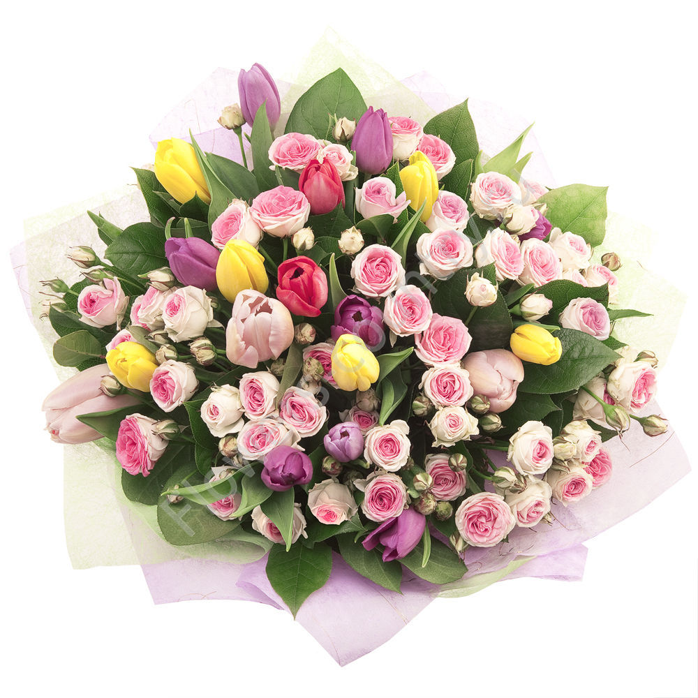 Букет из кустовых роз и тюльпанов — «Нежность»