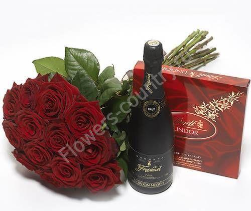 Набор из роз, шампанского и конфет