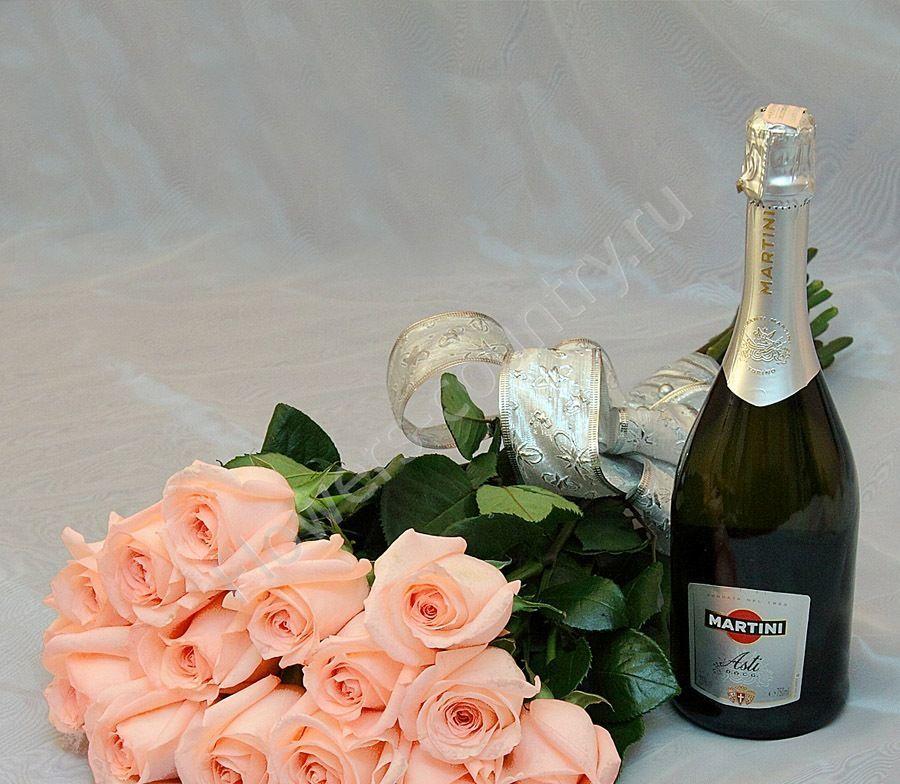 Набор из роз и мартини асти