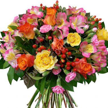 Букет из альстромерии, роз и гвоздики