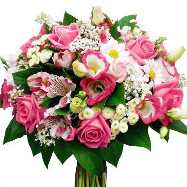 Букет из роз, эустомы и альстромерии